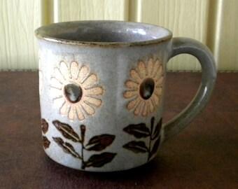 Vintage Sunflower Stoneware Mug Floral Resist Grey Gray Glaze Mid Century Modern