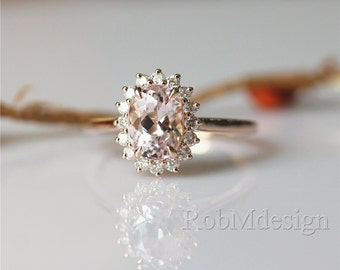 Stackable Morganite Ring Pink 6*8mm Fancy Morganite and Full Cut Natural Diamonds 14k Rose Gold Ring Wedding Ring Gemstone Engagement Ring