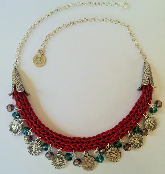 crochet necklaces with turkish style coins charms and