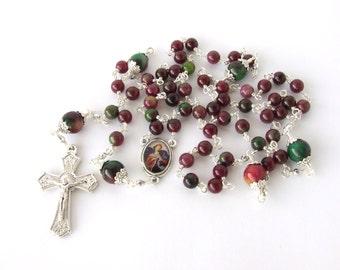 Catholic Rosary - Our Lady Undoer of Knots Rosary - Unbreakable Multicolor Fuchsia & Green Jade Gemstone Five Decade Rosary - Catholic Gift