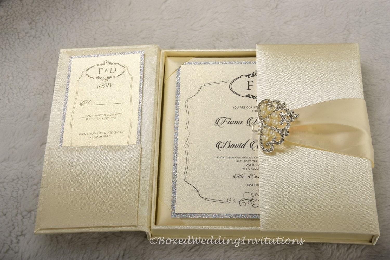 Wedding Invitation In A Box: Gatefold Invitation Box / Silk Invitation Box / Boxed Wedding