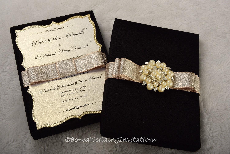 Wedding Invitation In A Box: Elegant Boxed Wedding Invitation / Wedding Invitation Box