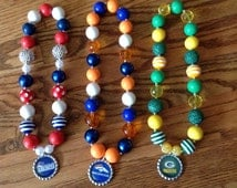 NFL chunky bubblegum beaded necklace and bracelet sets made to order with choice of team pendant/football team necklace and bracelet set