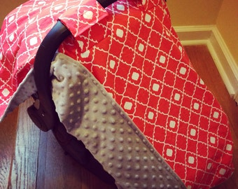 Coral and Gray Carseat Canopy