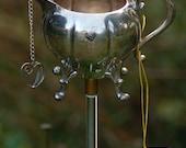 Garden Stake Art Teapot Poke (Birdhouse Whimsies, sun catcher, up-cycling recycled garden art Decorative)