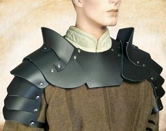 Medieval Leather Pauldron with Gorget Armour Set, LARP, Medieval, Renaissance