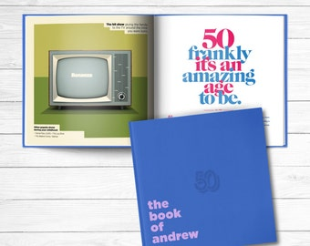 50th birthday Personalized Gift Book of Everyone Blueberry Blue Cover