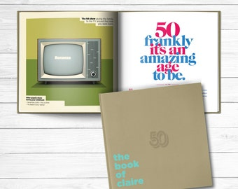 50th birthday Personalized Gift Book of Everyone Mocha Brown Cover