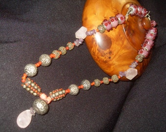 Sterling Silver Glass Pig Tibet Beaded Necklace with Crystal