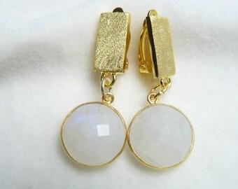 Moonstone clip earrings gold