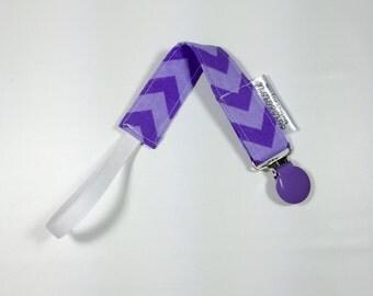 Pacifier Clip, Binky Passy Paci Clip,  Lilic Purple Chevron