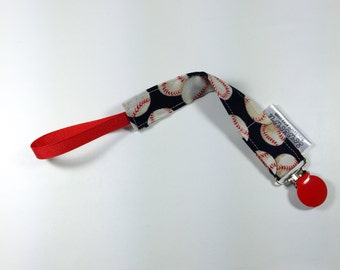Fits All Pacifiers! Pacifier Clip, Binky Clip, Passy Clip,  Paci Clip, Sports, Baseball, Navy Blue Red