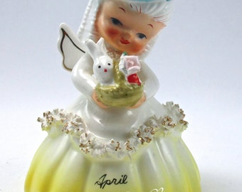 1956 Napco April Birthday Angel Bell Figurine Of the Month A1307D Easter Bunny Rabbit Sticker Vintage Spaghetti Coleslaw Trim RARE