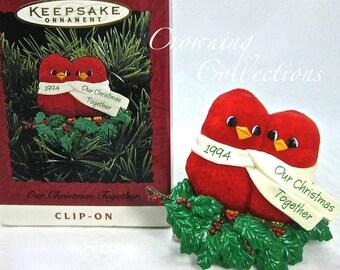 1994 Hallmark Our Christmas Together Keepsake Ornament Red Birds Love Clip-On Cardinals First Vintage