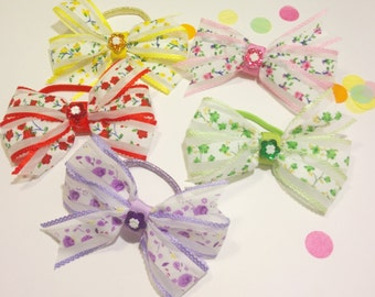 """Set of 10 - 4"""" Inch Hair Bows, Assorted Coloured & Patterns, Elastic Bobbles"""