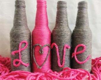 Yarn Bottles Love Grey and Hot Pink Set of Four