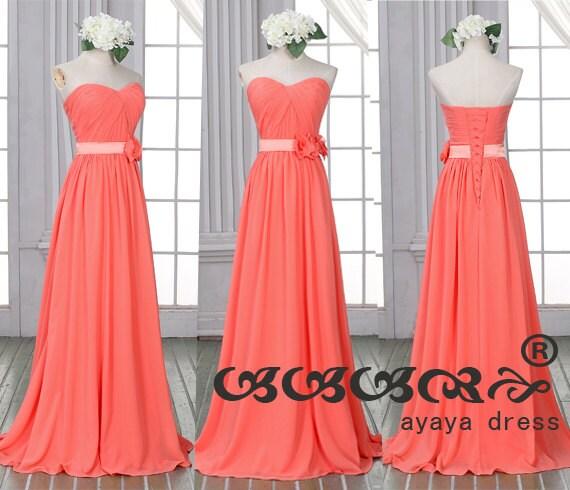 Coral long Bridesmaid DressNew Prom DressChiffon by ayayadress