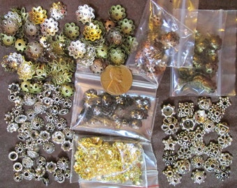 Various Types of  Random Metal Bead Caps- Assorted Shapes, Sizes, Ages, Styles, & Colors- Choose lots from 1/4 lb to 1 pound