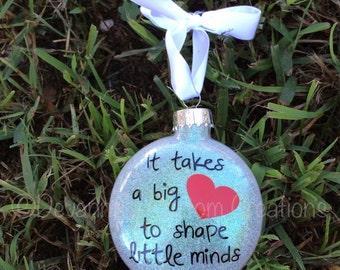 Teacher Appreciation Glitter Christmas Ornament