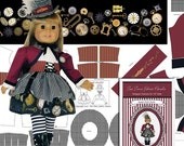 "18"" Doll STEAMPUNK COSTUME in Wine  - Dress, Jacket, Hat - Fabric Panel Kit - Steampunk Outfit for 18 inch Dolls DIY"