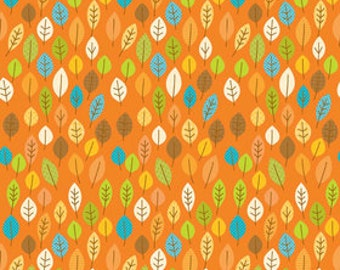 Fall Fabric, Thanksgiving Fabric, Happy Harvest by Riley Blake, Harvest Leaves in Orange, Cotton, 1 Yard