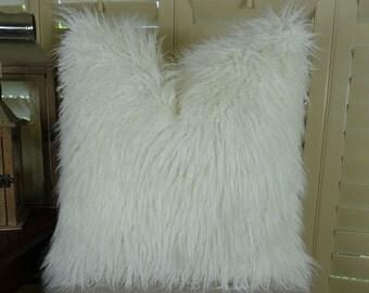 White Fur Pillow - White Mongolian Faux Fur Throw Pillow - White Mongolian Fur Pillow Cover - Soft Curly Long Hair White Fur Pillow - 16471