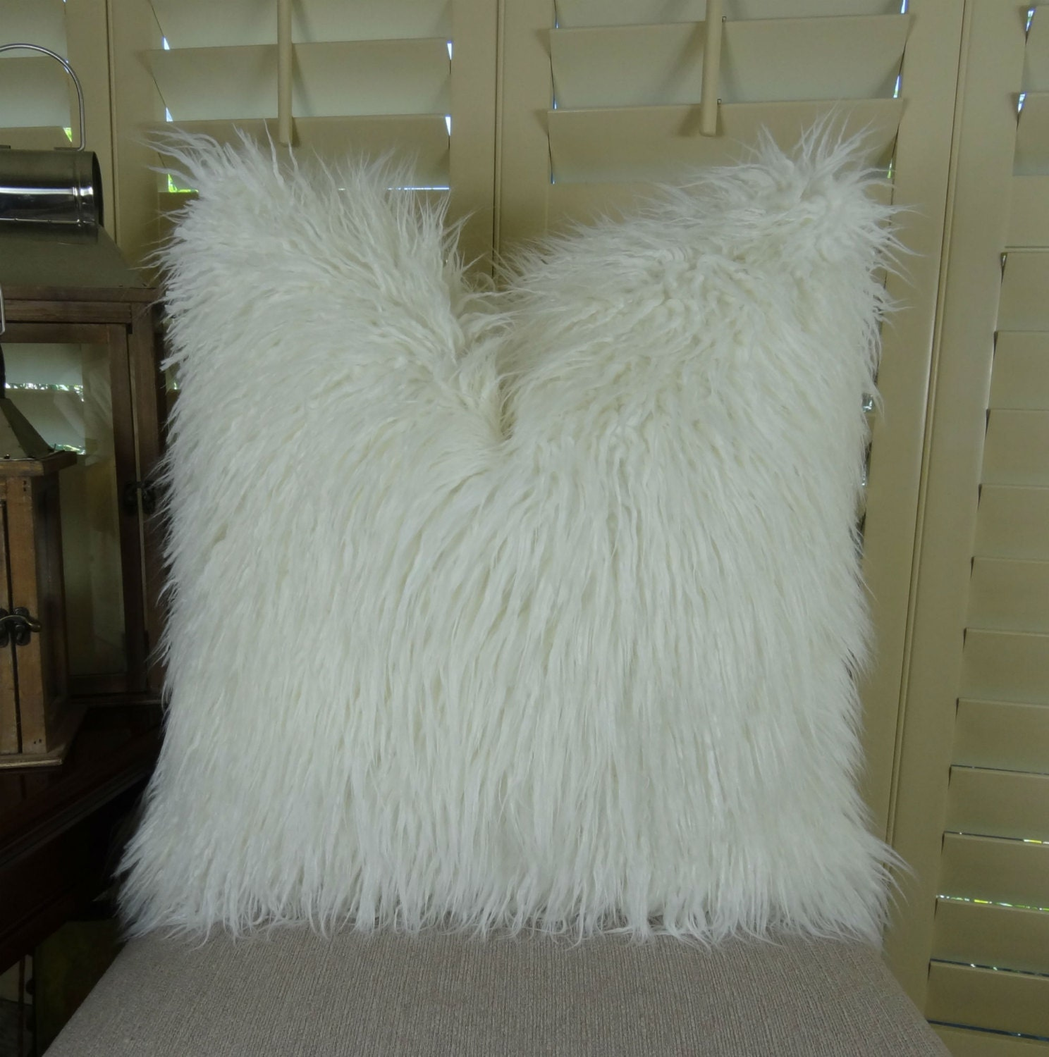White Fur Pillow White Mongolian Faux Fur Throw Pillow