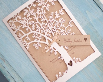 Lasercut Tree Invitation - White & Kraft