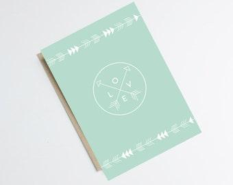 "Graphic postcard ""INDIAN LOVE"" - bohemian inspiration, modern, design illustration, triangle, arrow"