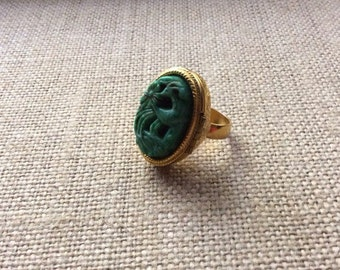 Vintage Avon Bird of Paradise Faux Jade Locket Ring