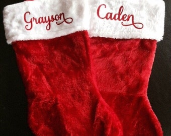 Personalized Red Plush Stocking - Christmas Stockings - Unique Christmas Décor- Baby's First Stocking- Affordable Personalized Stocking