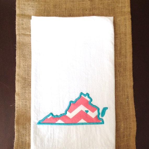 State Outline Kitchen Towel, Applique Kitchen Towel, Home Decor, Home State Kitchen Towel, Tea Towels, Guest Towels, State Shape Towels