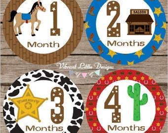 Monthly Baby Bodysuit Stickers Boy, Milestone Stickers, Month Stickers, Baby Month Stickers, Baby Stickers, Wild West, Cowboy #120