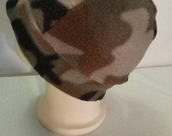 Fleece Camo Beanie Hat, Fleece Army Print Toddler Hat, Fleece Green Camo Infant Hat, Fleece Toddler Beanie Hat, Camouflage Beanie Hat