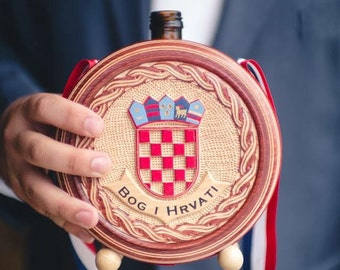 Croatian Cuturica, Size M, New Grb, Wooden Flask, Customized for your Wedding