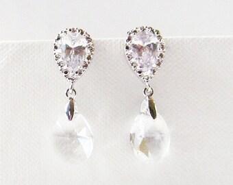 silver swarovski cz bridal earrings , bridal post earring , swarovski earrings , crystal earrings , tear drop bridal earring , bridal