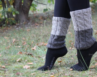 2 in 1 - Custom Color, Handknit Boot Cuffs, Long  Leg Warmers, Boot Toppers, Light Gray and Dark Gray, Gift Wrapped