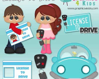 License to drive Digital Clipart - Clip art for scrapbooking, party invitations - Instant Download Clipart Commercial Use