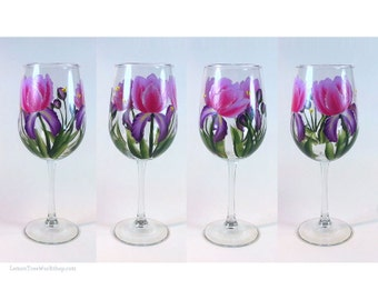 Hand Painted Pink Purple Iris Wine Glasses Set of 4 Iris Floral Stemware