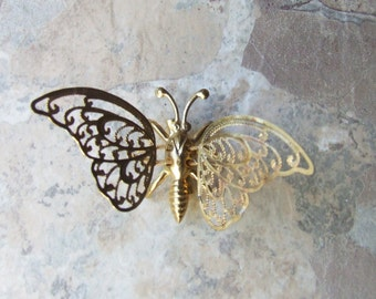 Vintage brass butterfly brooch, butterfly gold tone brooch pin, free shipping