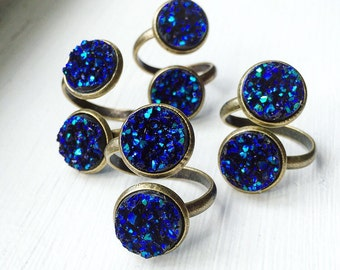 Sapphire Blue Adjustable Druzy Ring