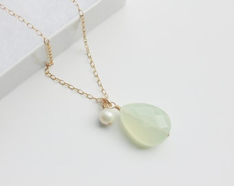 Light green jade faceted gemstone teardrop pendant 14ct gold filled necklace chain with white pearl charm