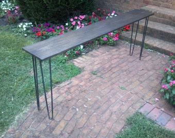 Beautiful dark walnut poplar console table sofa table with raw steel hairpin legs