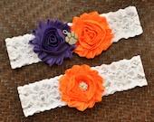 Clemson University Tigers Wedding Garter Set, Clemson University Bridal Garter, White Lace Garter, Clemson Garter, Tigers Garter