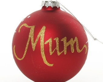 Personalised Red Glass Christmas Bauble - Large
