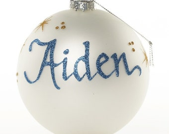 Personalised Pearl Glass Christmas Bauble - Large