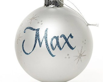 Personalised Silver Glass Christmas Bauble - Large