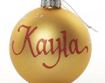 Personalised Gold Glass Christmas Bauble - Medium