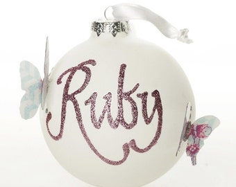 Personalised White Butterfly Artisan Bauble
