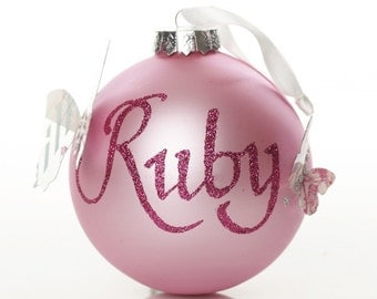 Personalised Baby Pink Butterfly Artisan Bauble